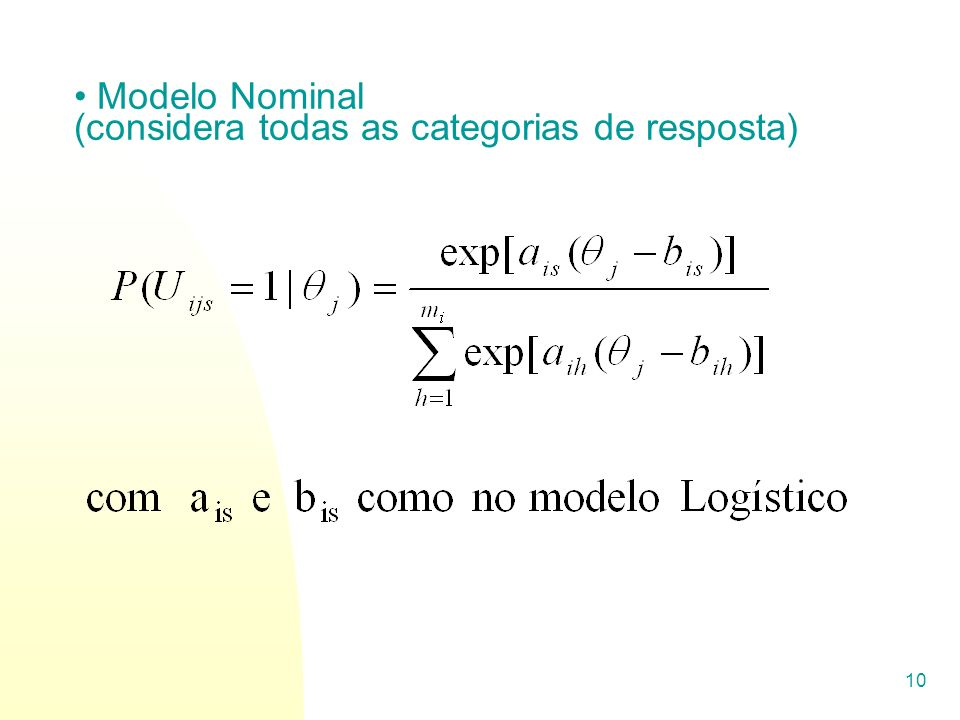 Modelo Nominal (considera todas as categorias de resposta)