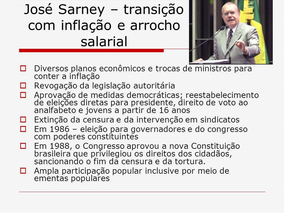José Sarney – transição com inflação e arrocho salarial