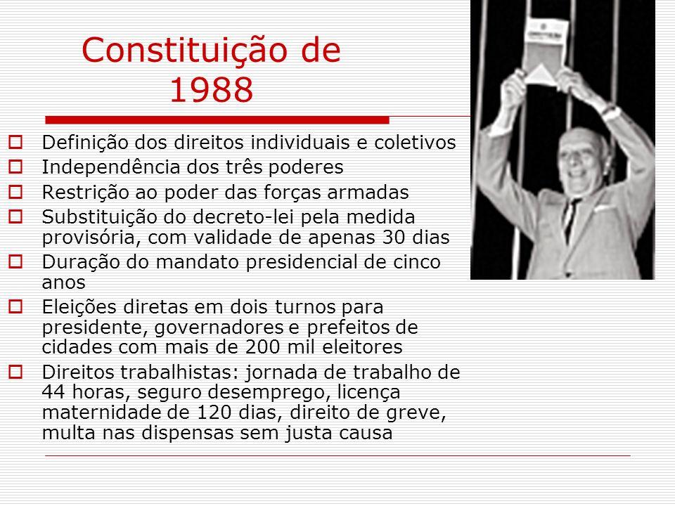 Constituição de 1988 Definição dos direitos individuais e coletivos