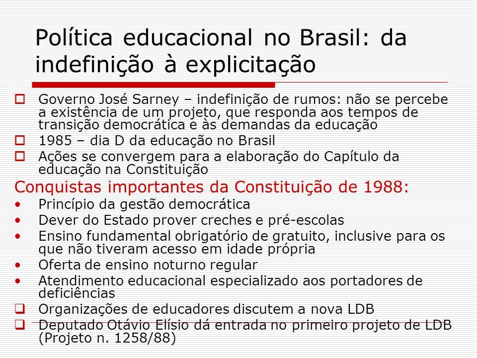 Política educacional no Brasil: da indefinição à explicitação