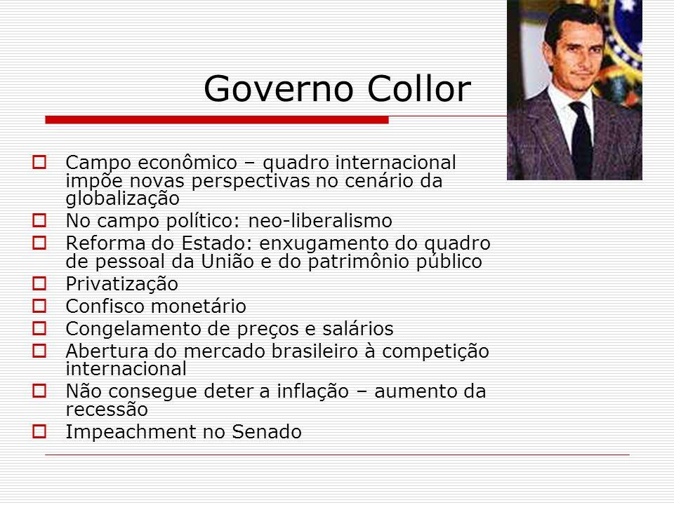 Governo Collor Campo econômico – quadro internacional impõe novas perspectivas no cenário da globalização.