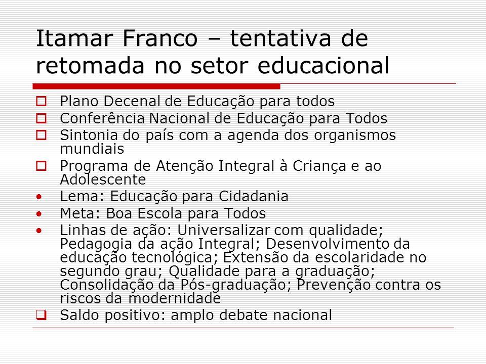 Itamar Franco – tentativa de retomada no setor educacional