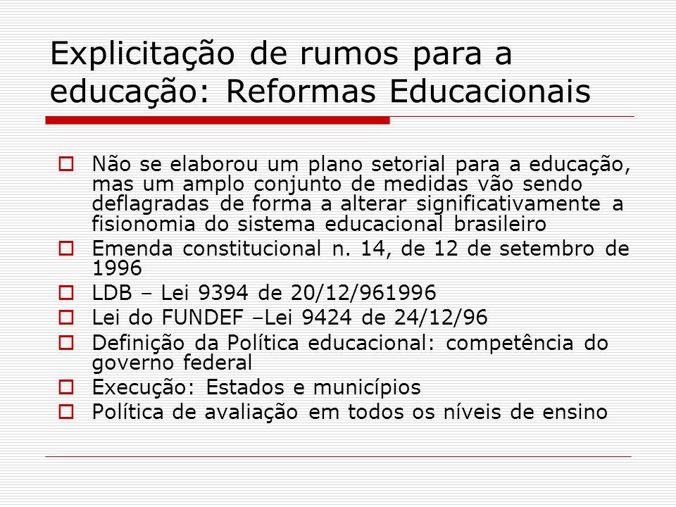 Explicitação de rumos para a educação: Reformas Educacionais