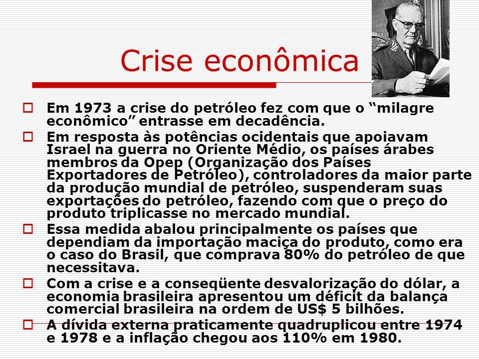 Crise econômica Em 1973 a crise do petróleo fez com que o milagre econômico entrasse em decadência.