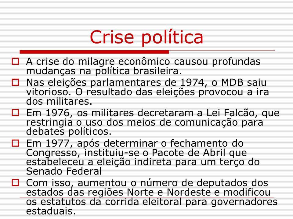 Crise política A crise do milagre econômico causou profundas mudanças na política brasileira.