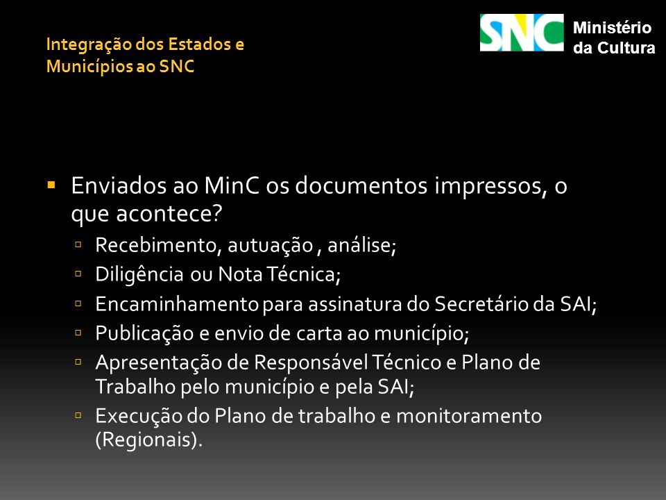 Enviados ao MinC os documentos impressos, o que acontece