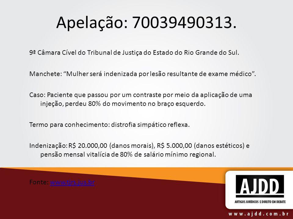 Apelação: 70039490313. 9ª Câmara Cível do Tribunal de Justiça do Estado do Rio Grande do Sul.