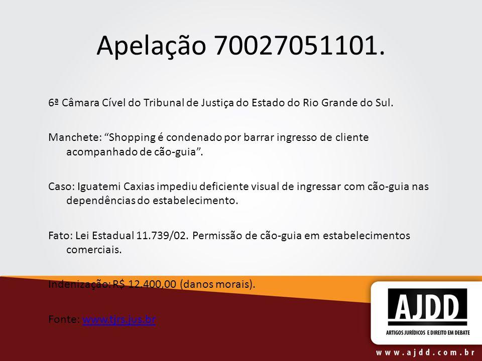 Apelação 70027051101. 6ª Câmara Cível do Tribunal de Justiça do Estado do Rio Grande do Sul.