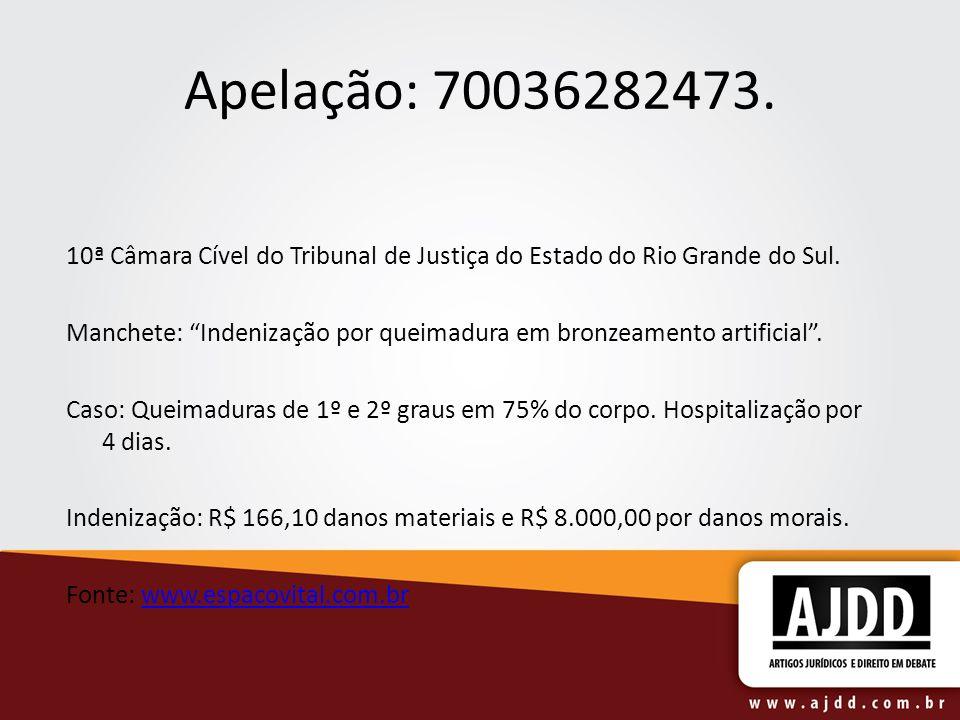 Apelação: 70036282473.10ª Câmara Cível do Tribunal de Justiça do Estado do Rio Grande do Sul.