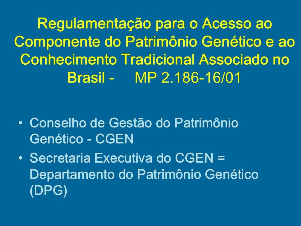 Regulamentação para o Acesso ao Componente do Patrimônio Genético e ao Conhecimento Tradicional Associado no Brasil - MP 2.186-16/01