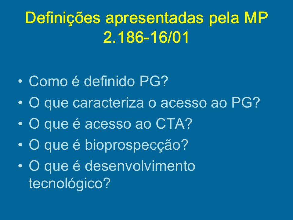 Definições apresentadas pela MP 2.186-16/01