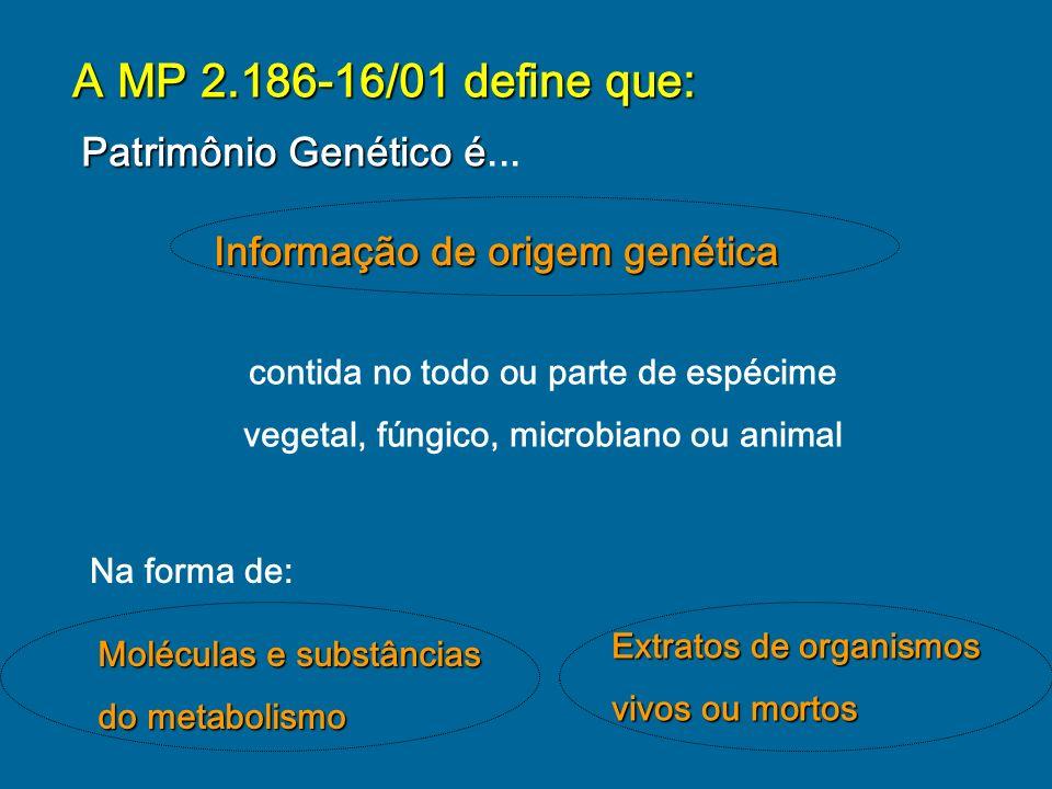 A MP 2.186-16/01 define que: Patrimônio Genético é...