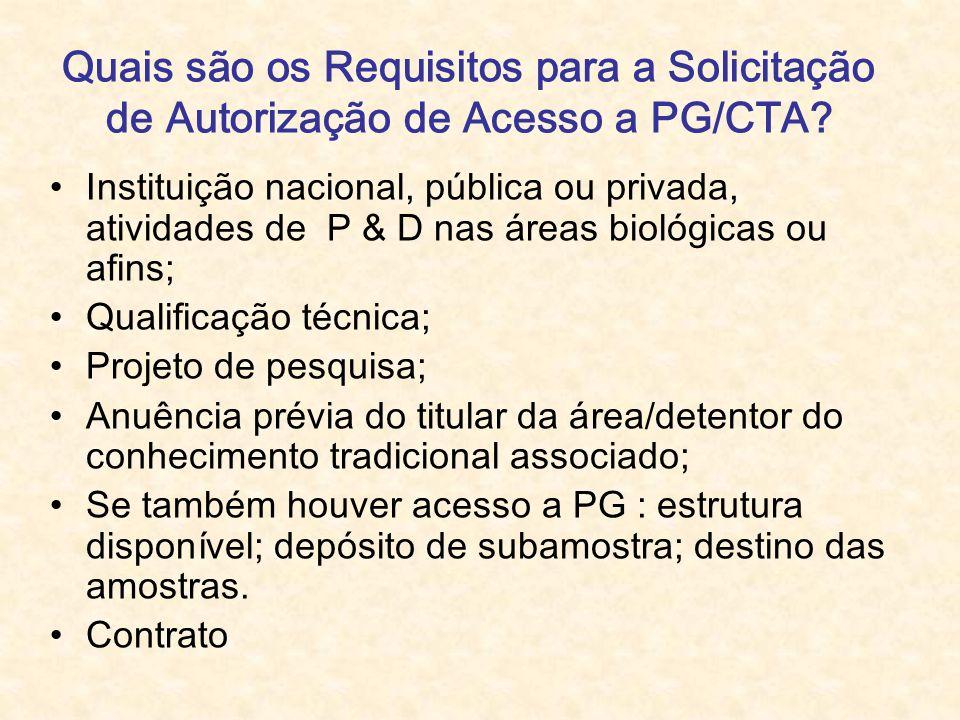 Quais são os Requisitos para a Solicitação de Autorização de Acesso a PG/CTA