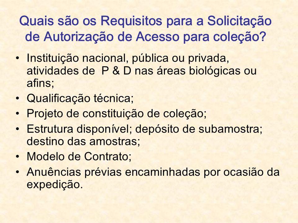 Quais são os Requisitos para a Solicitação de Autorização de Acesso para coleção