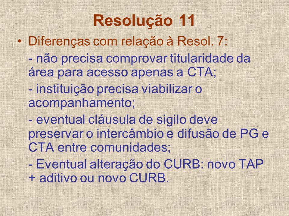 Resolução 11 Diferenças com relação à Resol. 7: