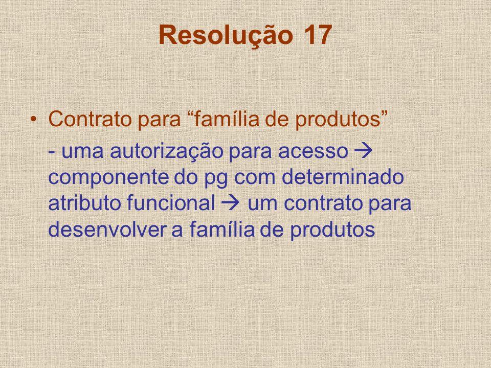 Resolução 17 Contrato para família de produtos