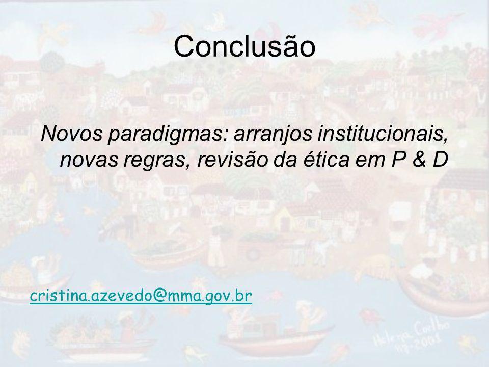 Conclusão Novos paradigmas: arranjos institucionais, novas regras, revisão da ética em P & D.