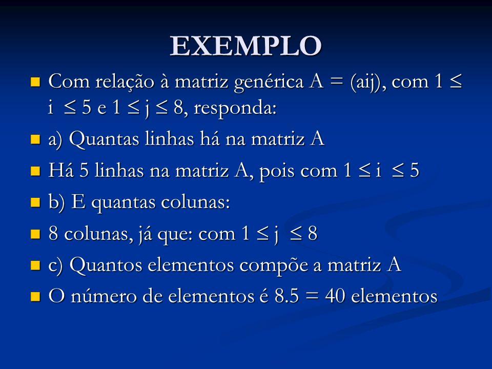 EXEMPLO Com relação à matriz genérica A = (aij), com 1  i  5 e 1  j  8, responda: a) Quantas linhas há na matriz A.
