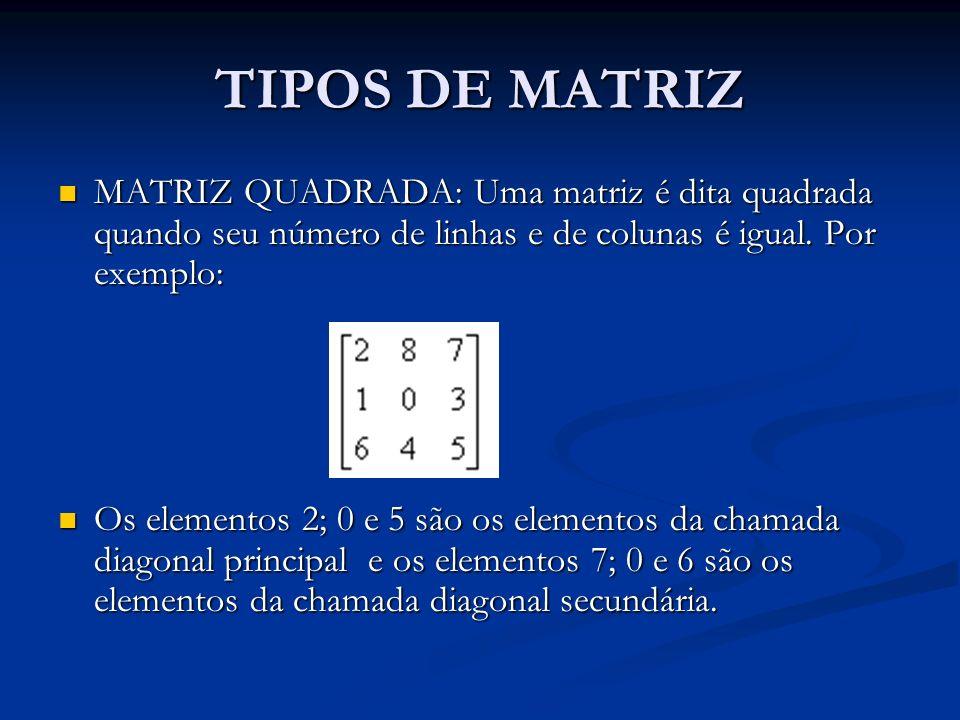 TIPOS DE MATRIZ MATRIZ QUADRADA: Uma matriz é dita quadrada quando seu número de linhas e de colunas é igual. Por exemplo: