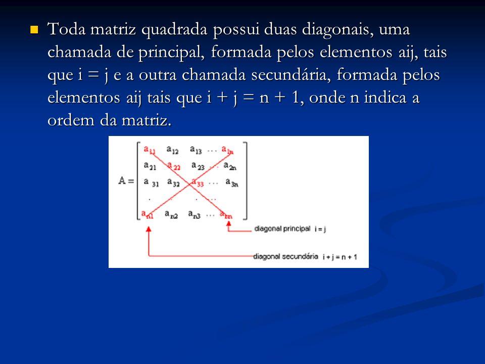 Toda matriz quadrada possui duas diagonais, uma chamada de principal, formada pelos elementos aij, tais que i = j e a outra chamada secundária, formada pelos elementos aij tais que i + j = n + 1, onde n indica a ordem da matriz.