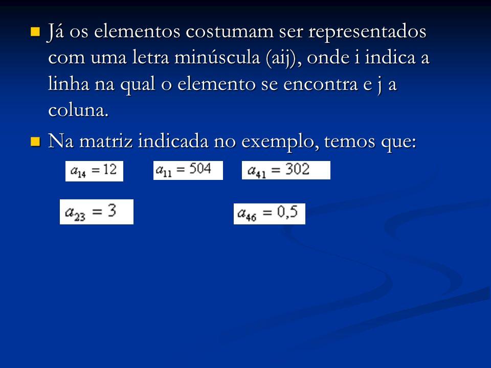 Já os elementos costumam ser representados com uma letra minúscula (aij), onde i indica a linha na qual o elemento se encontra e j a coluna.