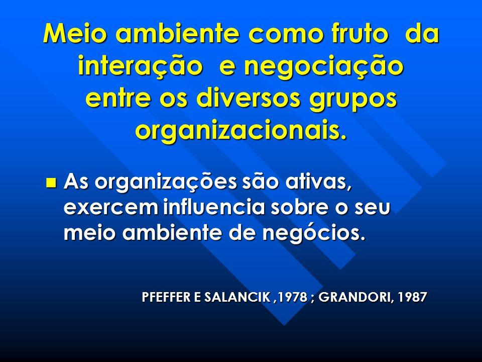 Meio ambiente como fruto da interação e negociação entre os diversos grupos organizacionais.