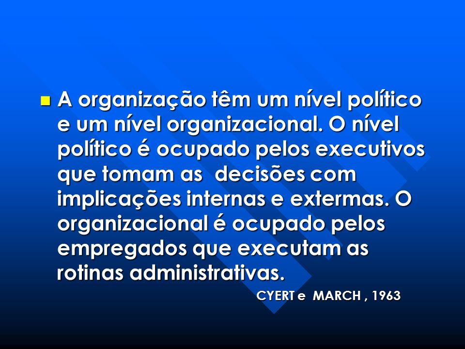 A organização têm um nível político e um nível organizacional