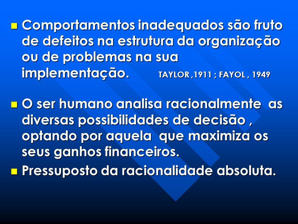 Comportamentos inadequados são fruto de defeitos na estrutura da organização ou de problemas na sua implementação. TAYLOR ,1911 ; FAYOL , 1949