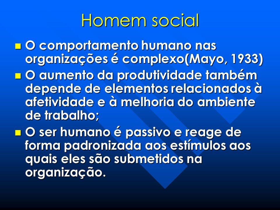 Homem social O comportamento humano nas organizações é complexo(Mayo, 1933)
