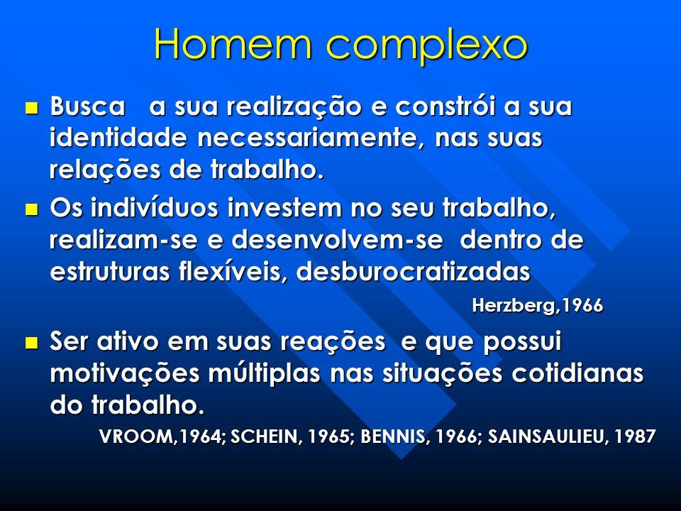 Homem complexo Busca a sua realização e constrói a sua identidade necessariamente, nas suas relações de trabalho.