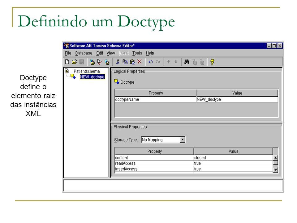 Doctype define o elemento raiz das instâncias XML