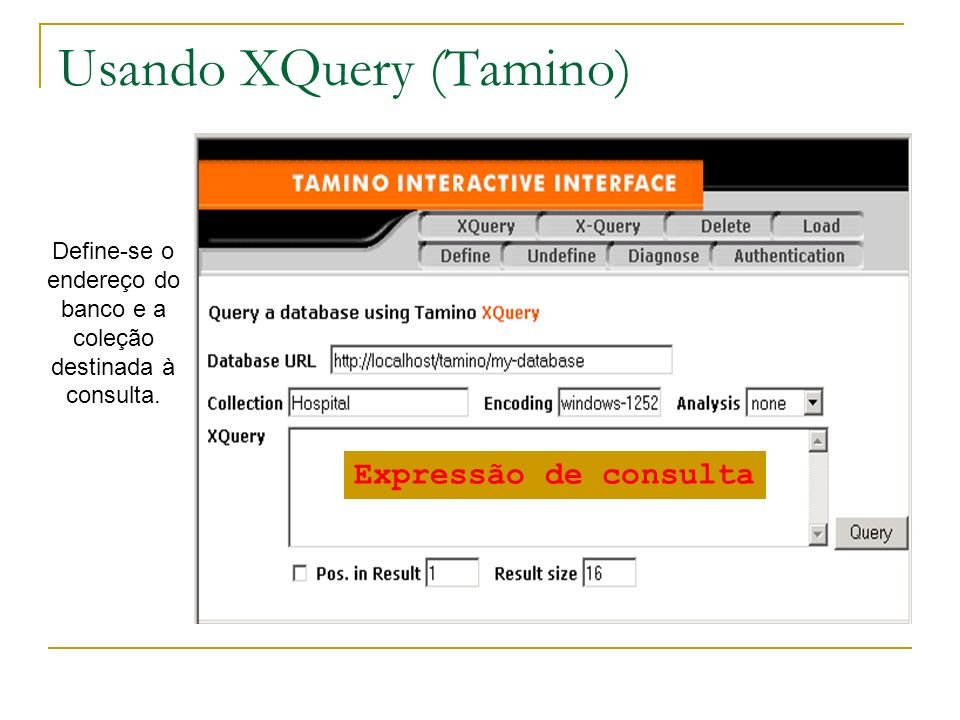 Usando XQuery (Tamino)