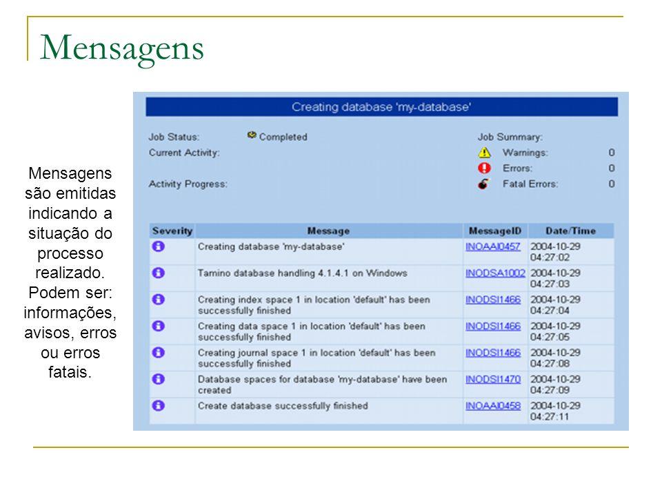 Mensagens Mensagens são emitidas indicando a situação do processo realizado.