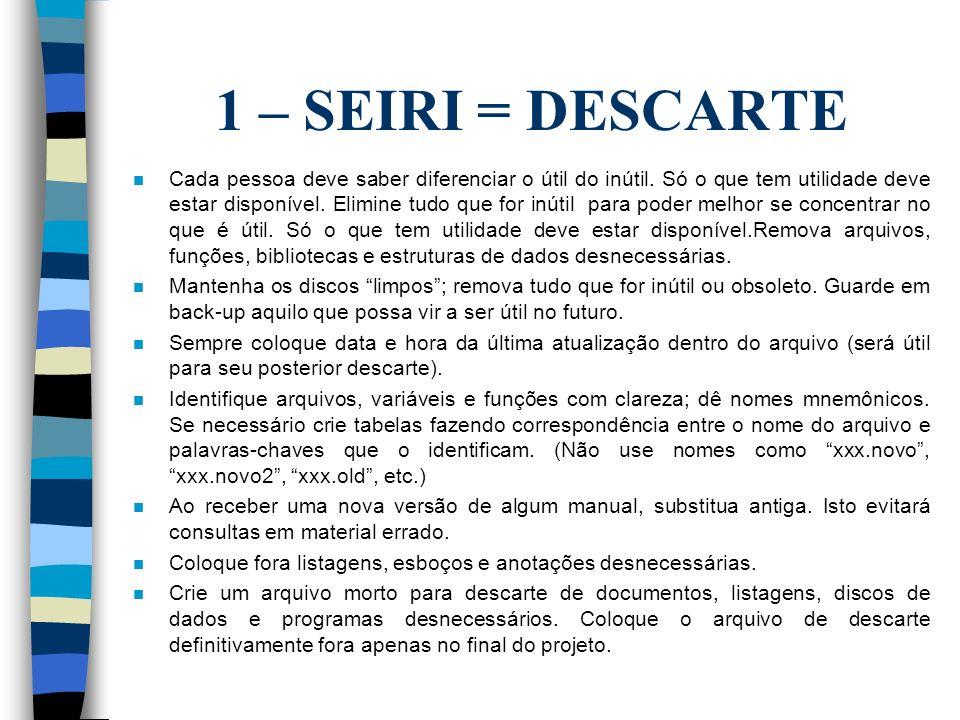 1 – SEIRI = DESCARTE