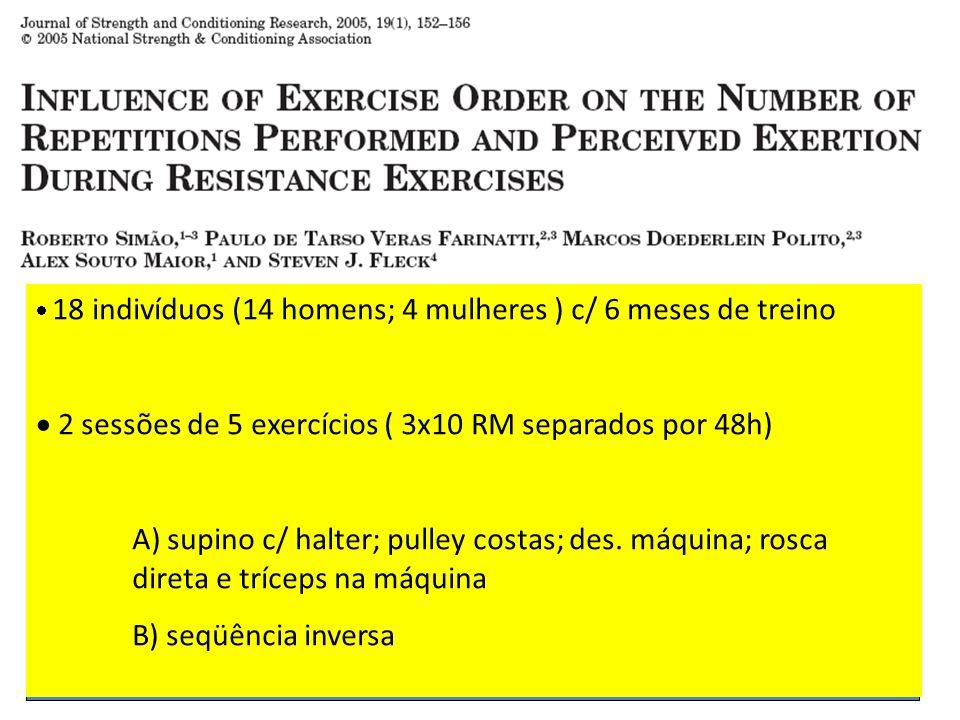 2 sessões de 5 exercícios ( 3x10 RM separados por 48h)