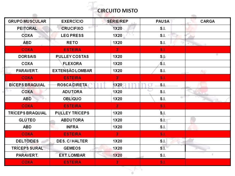 CIRCUITO MISTO GRUPO MUSCULAR EXERCÍCIO SÉRIE/REP PAUSA CARGA PEITORAL