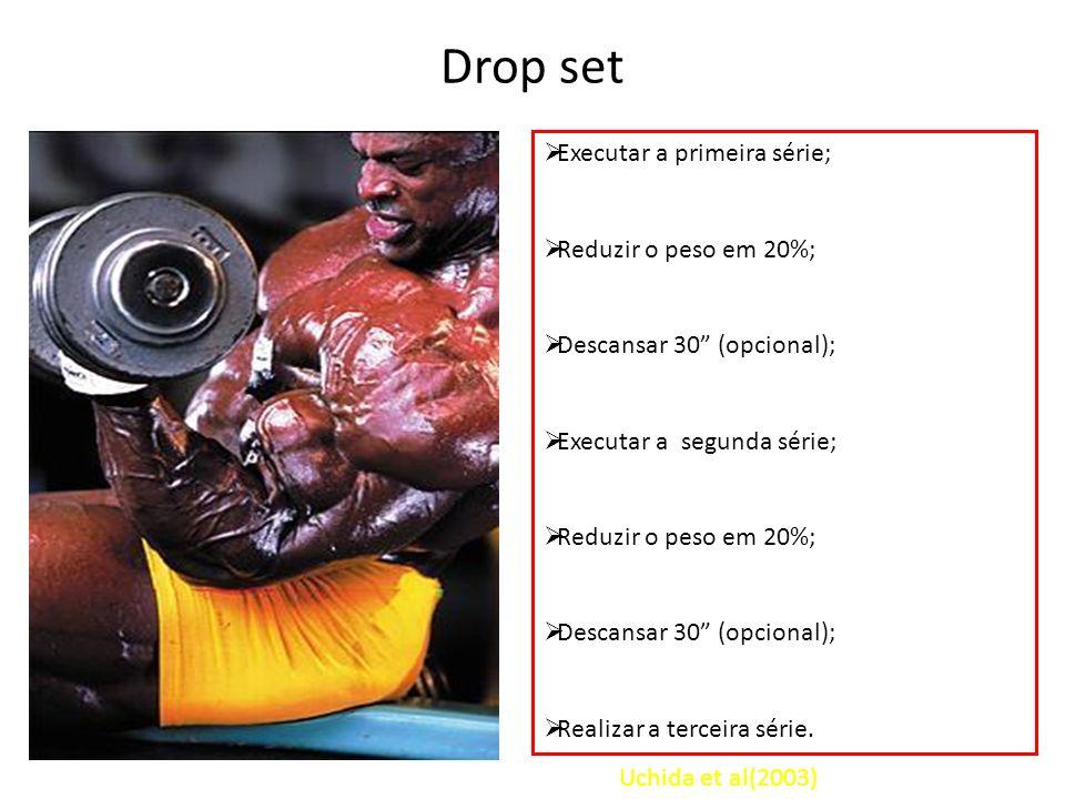 Drop set Executar a primeira série; Reduzir o peso em 20%;