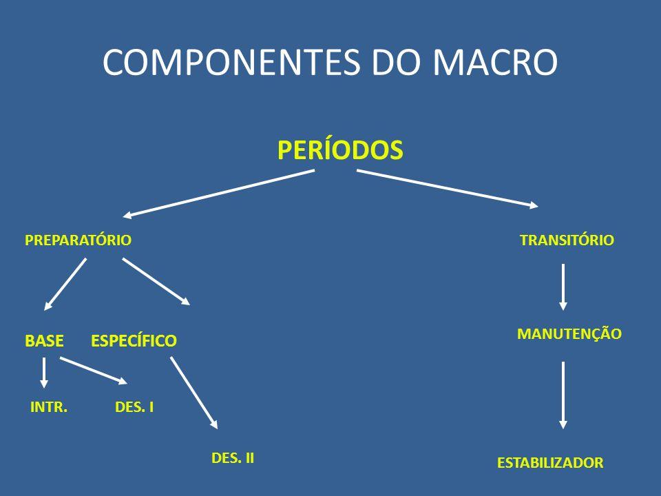 COMPONENTES DO MACRO PERÍODOS BASE ESPECÍFICO PREPARATÓRIO TRANSITÓRIO