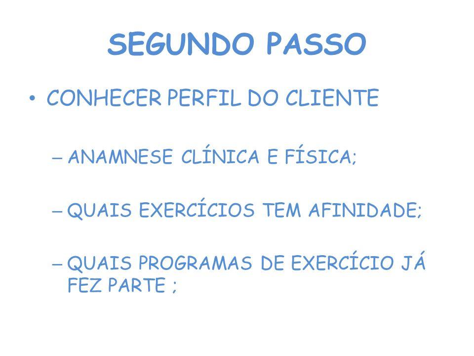 SEGUNDO PASSO CONHECER PERFIL DO CLIENTE ANAMNESE CLÍNICA E FÍSICA;