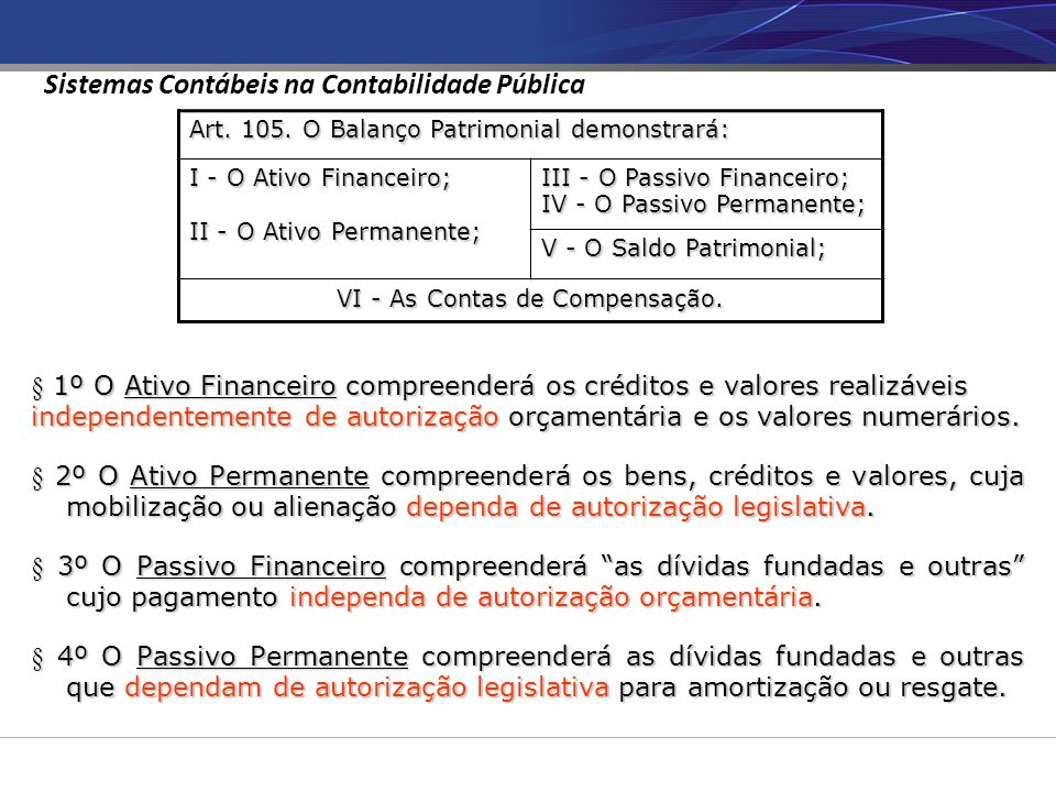 VI - As Contas de Compensação.