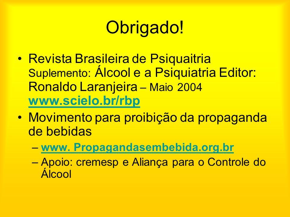 Obrigado! Revista Brasileira de Psiquaitria Suplemento: Álcool e a Psiquiatria Editor: Ronaldo Laranjeira – Maio 2004 www.scielo.br/rbp.
