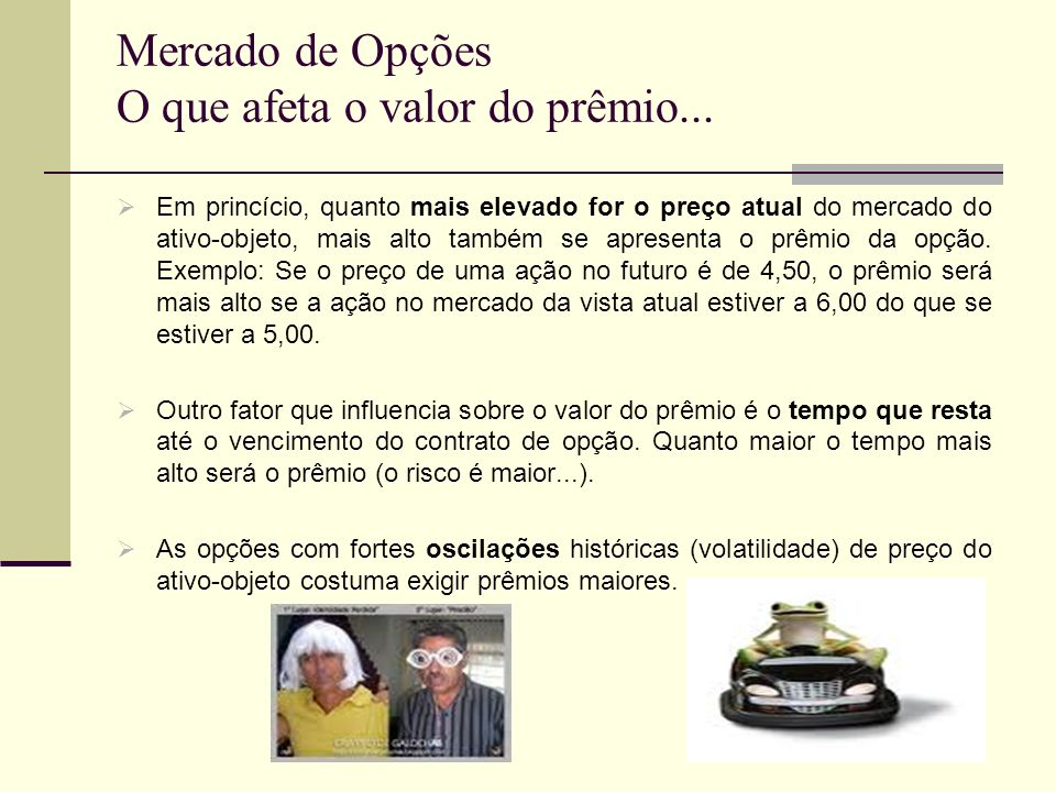 Mercado de Opções O que afeta o valor do prêmio...