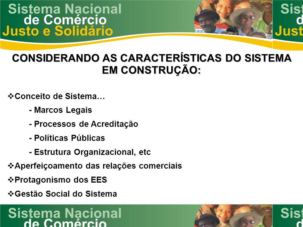 CONSIDERANDO AS CARACTERÍSTICAS DO SISTEMA EM CONSTRUÇÃO:
