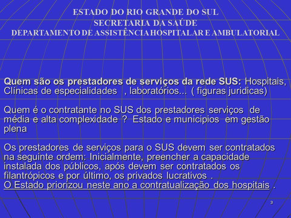 ESTADO DO RIO GRANDE DO SUL SECRETARIA DA SAÚDE DEPARTAMENTO DE ASSISTÊNCIA HOSPITALAR E AMBULATORIAL