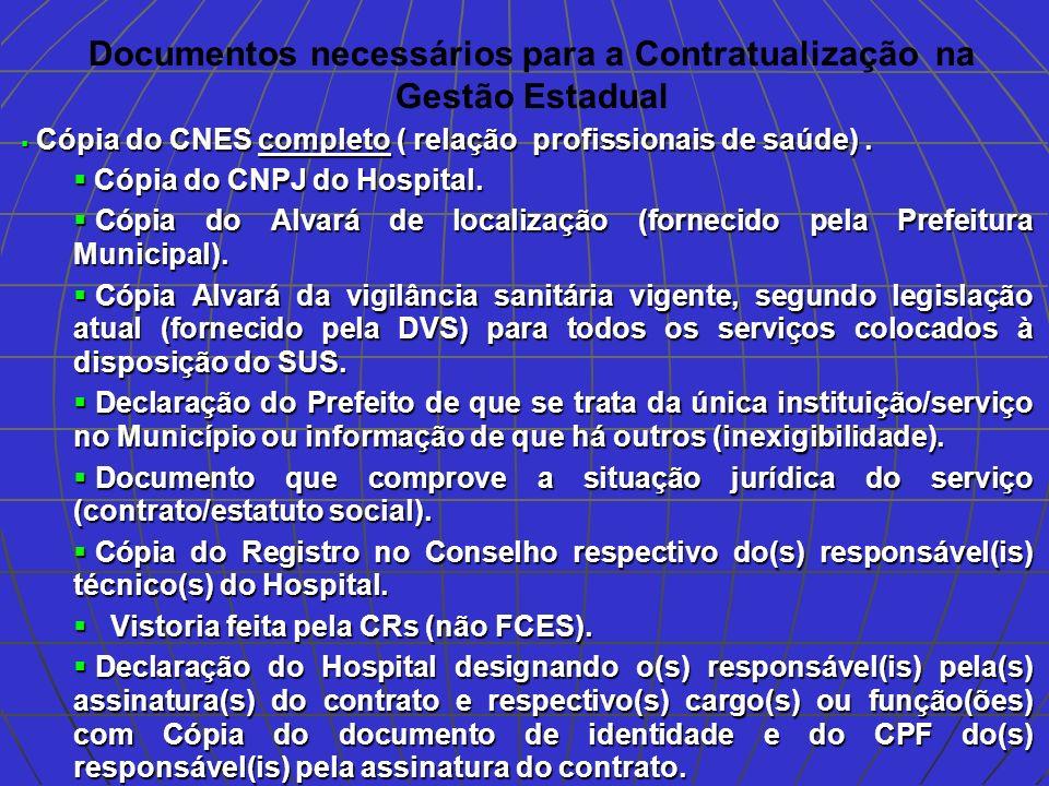 Documentos necessários para a Contratualização na Gestão Estadual