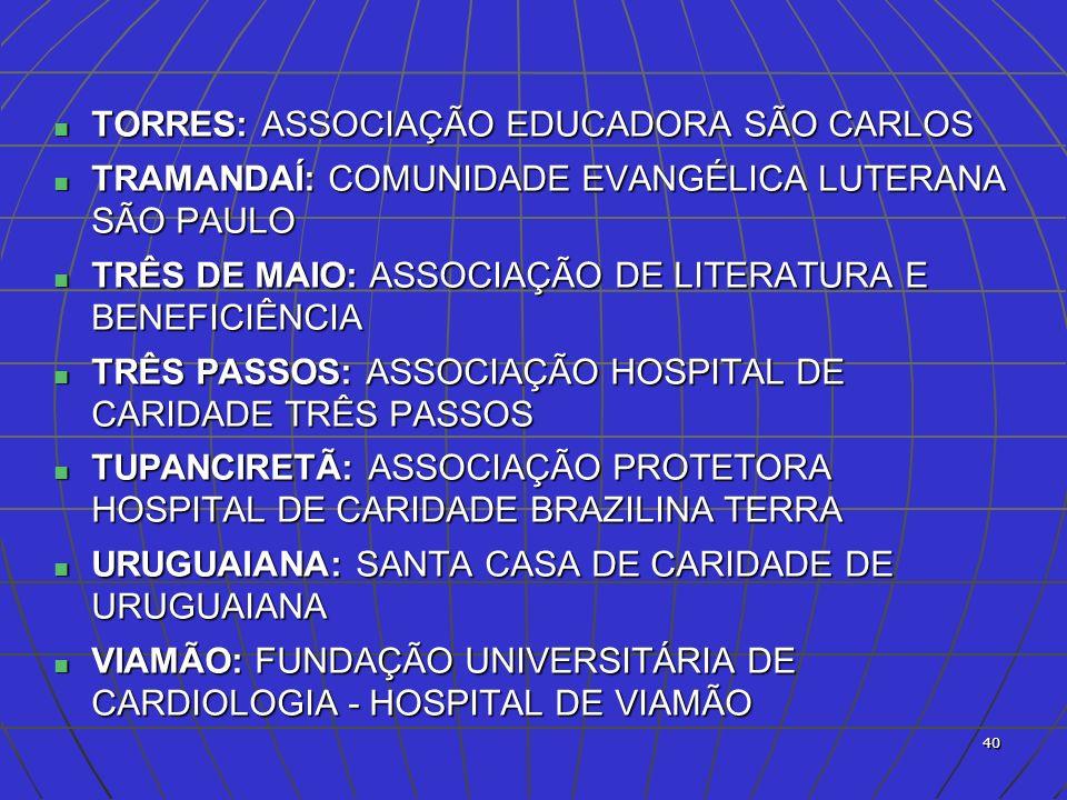 TORRES: ASSOCIAÇÃO EDUCADORA SÃO CARLOS