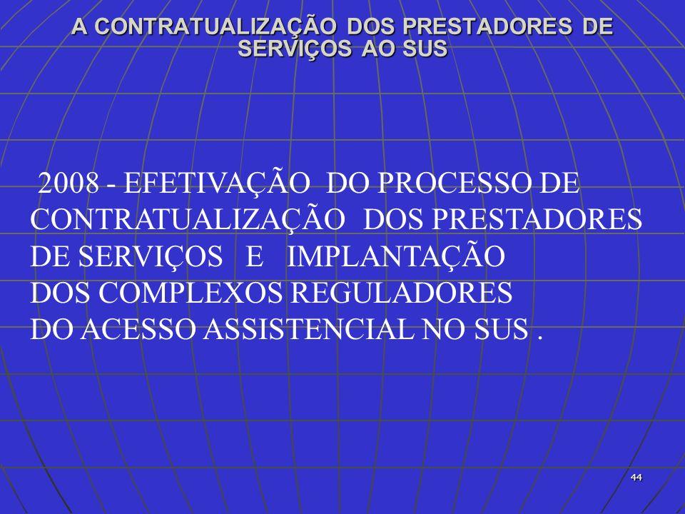 A CONTRATUALIZAÇÃO DOS PRESTADORES DE SERVIÇOS AO SUS