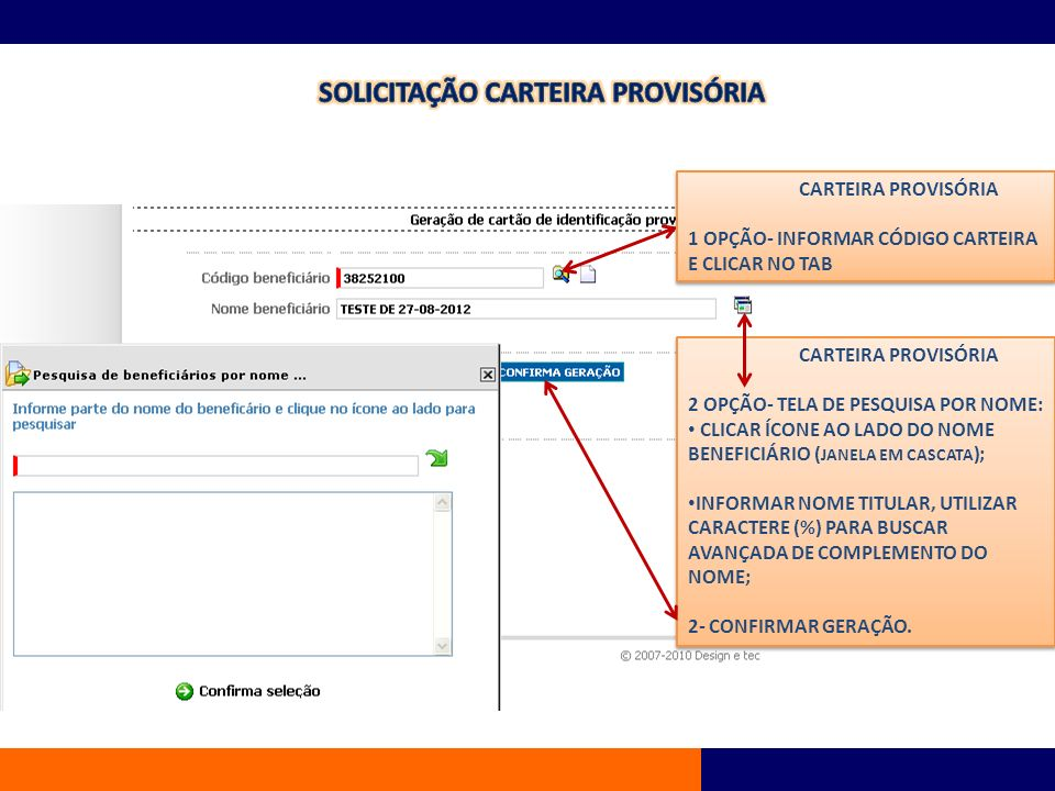 SOLICITAÇÃO CARTEIRA PROVISÓRIA