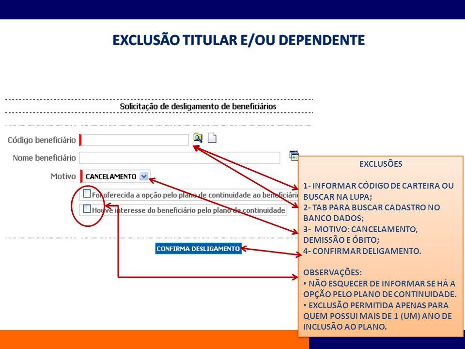 EXCLUSÃO TITULAR E/OU DEPENDENTE