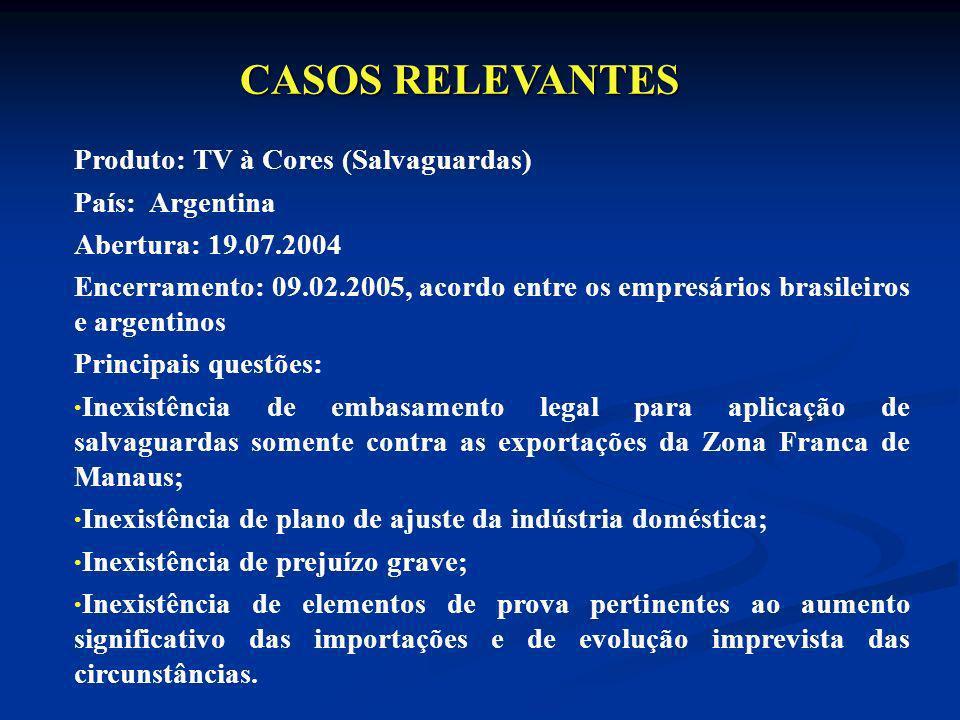 CASOS RELEVANTES Produto: TV à Cores (Salvaguardas) País: Argentina